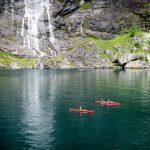Geirangerfjorden kayak at Dei Sju Systrene