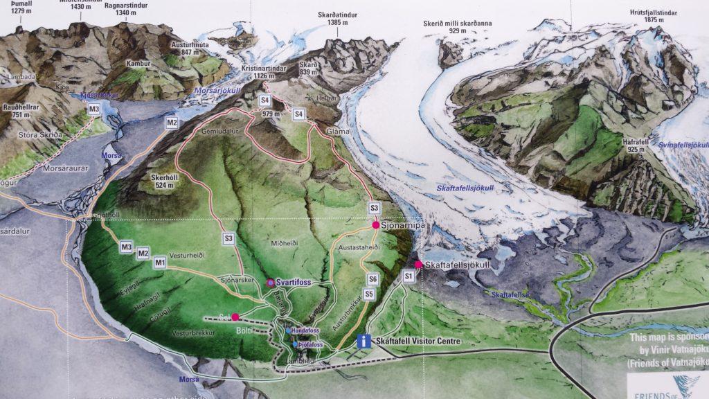 Map hike Morsárfoss